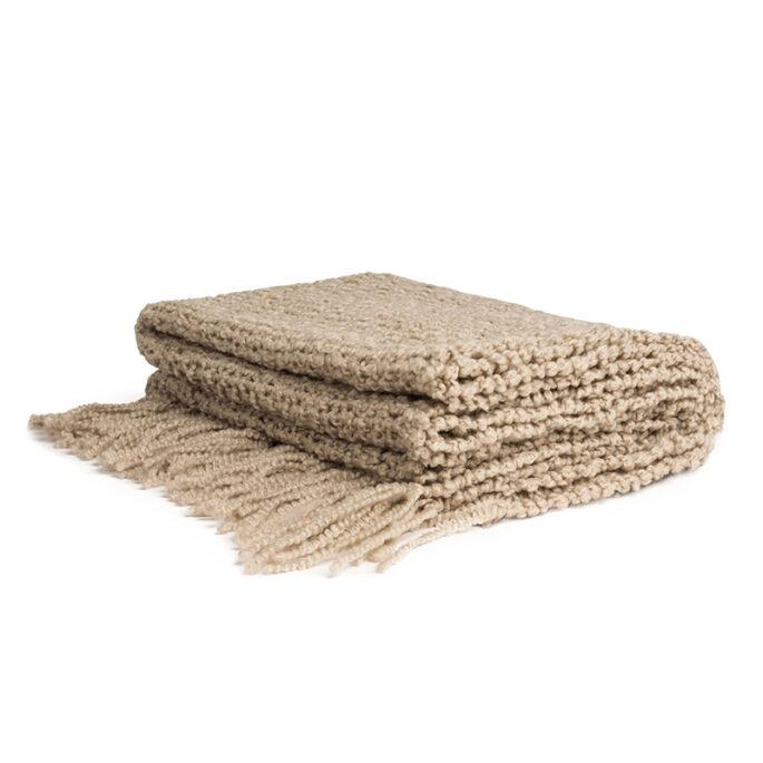 Jeté en tricot Taupe