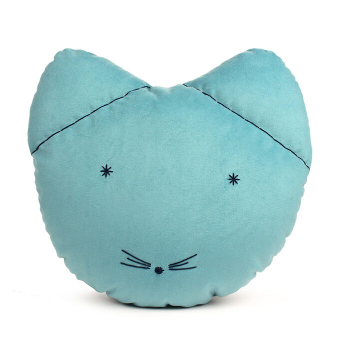 Coussin chat bleu