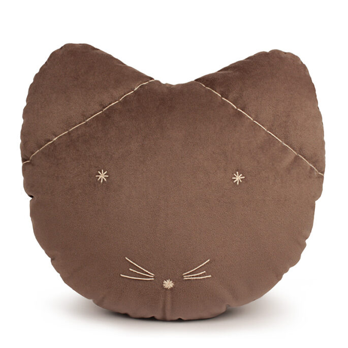 Coussin chat taupe